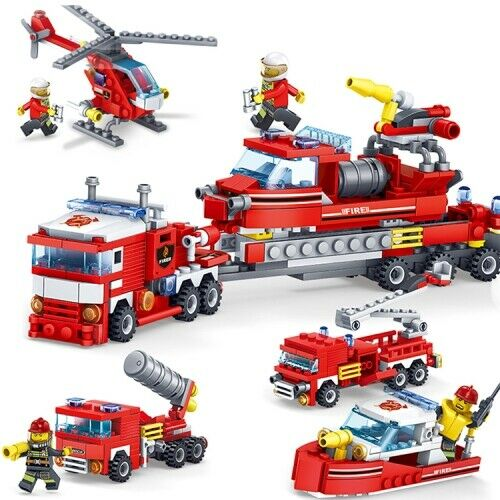 Fire Fighting Car Helicopter Boat Building Blocks Compatible City Firefighter Ed