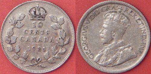 Very Fine 1931 Canada Silver 10 Cents