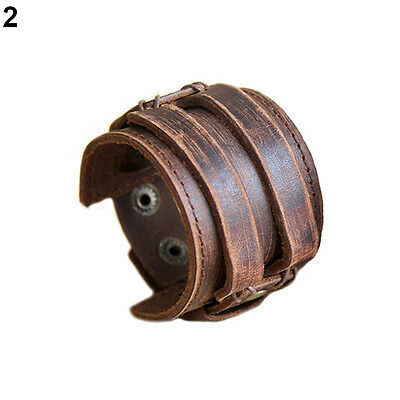 New Fashion Men Retro Genuine Leather Buckle Punk Cuff Bangle Wristband Bracelet