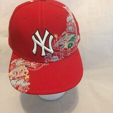 MLB New York Yankees New Era 59FIFTY Fitted Hat Cap Red Embroidered Design
