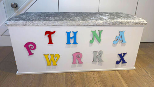 Toy Box Letters 7 Sizes to choose from and 19 Colours Font V