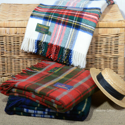 Pure laine vierge tartan check blanket throw picnic tapis robe stewart Tweedmill