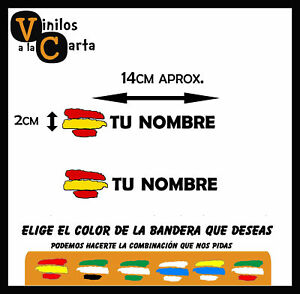 2-x-Bandera-Espana-Nombre-Personalizado-Pegatina-Sticker-Vinilo-Adhesivo-B8