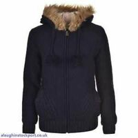 Soulcal & Co Ladies Lined Knitwear Fur Hoodie Full Zipped Top 8 ( Xs ) B431-9