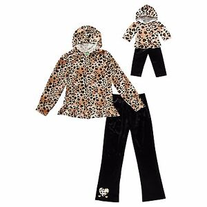 Dollie Me Girl 4-5 and Doll Matching Gold Cheetah Hoodie Outfit ft American Girl