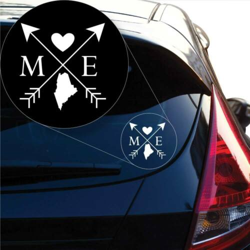Maine Love Cross Arrow State ME Decal Sticker for Car Window Laptop # 1086