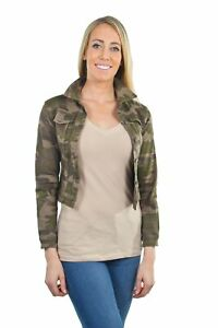 Women-039-s-Juniors-Premium-Stretch-Denim-Long-Sleeve-Camouflage-Jacket