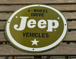 VINTAGE-WILLY-039-S-JEEP-PORCELAIN-GAS-AUTO-4-WHEEL-DRIVE-SERVICE-DEALERSHIP-SIGN