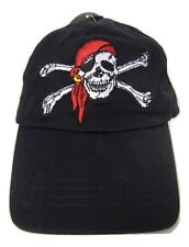 Jolly Roger Pirate Skull Cross Bones Red Hat Booty Hunter Black hat cap