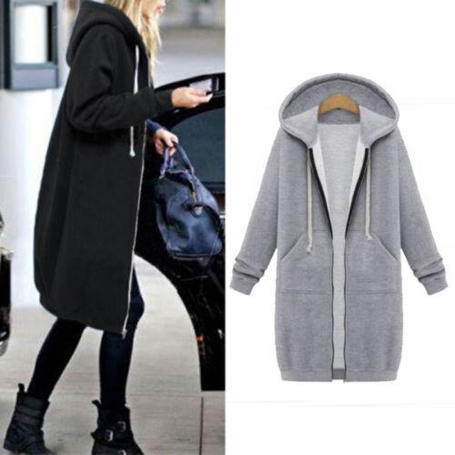 Women/'s Hoodie Sweatshirt Sweater Casual Hooded Full Zipped Long Top Coat Jacket