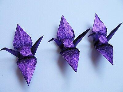 "100 Small Purple / Glittering Origami Cranes For Wedding Decorations 3.5"" x 3.5"""