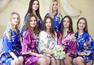 Hot-Peacock-Short-Women-Bridal-Bridesmaid-Kimono-Robe-Satin-Night-Dress-Gown