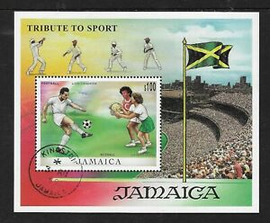 JAMAICA-1999-TRIBUTE-TO-SPORT-CRICKET-FOOTBALL-NETBALL-FLAG-S-Sheet-USED-CTO