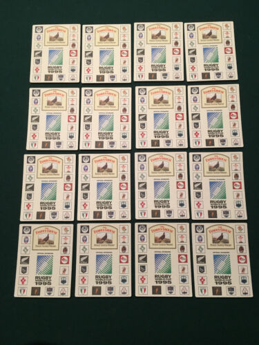 1995 World Cup Rugby Beer Mats 1st to 16th Seed Cards