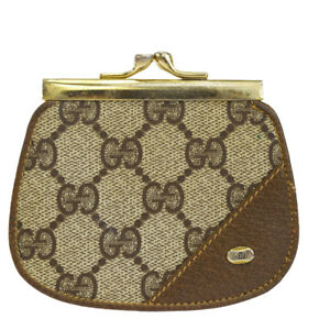 fa96e664f4a Auth GUCCI GG Pattern Coin Case Wallet Purse PVC Leather Brown Italy ...