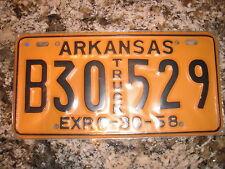 1958 ARKANSAS TRUCK LICENSE PLATE B30 529