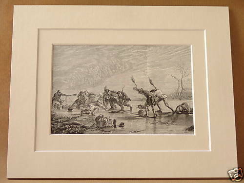 CURLING FROZEN LOCH ANTIQUE DOUBLE MOUNTED ENGRAVING FROM c1890 PUBLICATION RARE