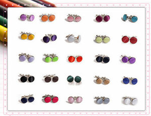 Annie-039-s-Qualited-Wedding-Party-Ceremony-Plated-Silver-Cufflinks-25-Colors-Stock