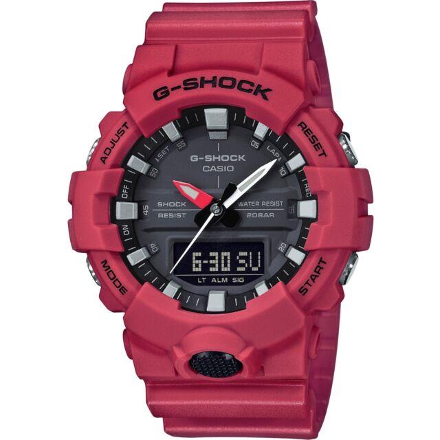 Casio G-Shock Dual Display Chronograph Red Resin Strap Gents Watch GA-800-4AER