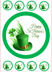 St Patrick/'s Day comestibles cupcakes /& cake topper plaquette papier//Icing