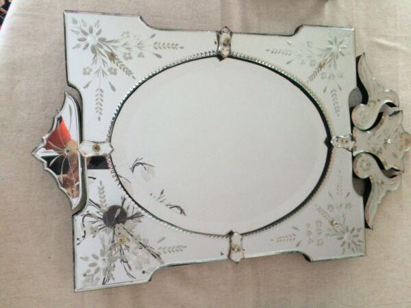 Aimable Miroir Vénitien / Venise Ancien Etat Correct Pour L'ancienneté Photos