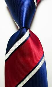 New-Classic-Striped-Blue-Red-White-JACQUARD-WOVEN-Silk-Men-039-s-Tie-Necktie