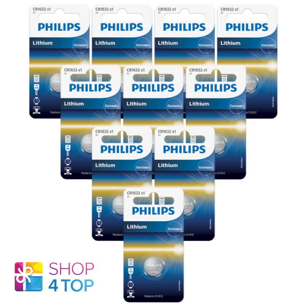 10 Philips CR1632 Lithium Batteries 3V Cell Coin Button DL1632 1BL EXP 2025 NEW