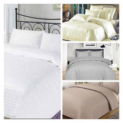 100/% Egyptian Cotton 300TC Satin Stripe Duvet Quilt Cover Set With Pillowcases