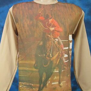 NOS-vintage-70s-COWBOY-HORSE-PHOTO-PRINT-L-S-T-Shirt-XS-rodeo-jersey-thin-80s