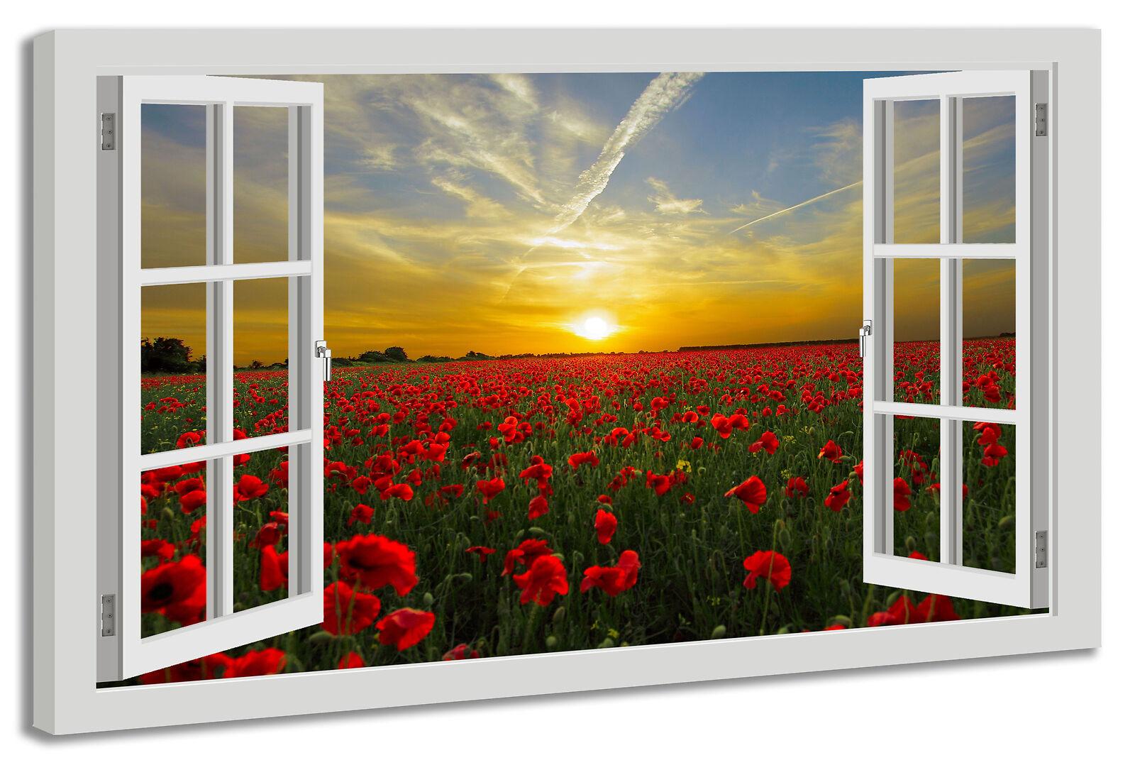 Toile la fresque fenêtre vue pavot soleil horizon coucher de de coucher soleil 09e315