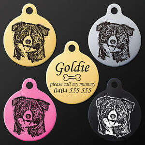 Border collie round pet dog puppy id tag personalised engraved image is loading border collie round pet dog puppy id tag sciox Choice Image