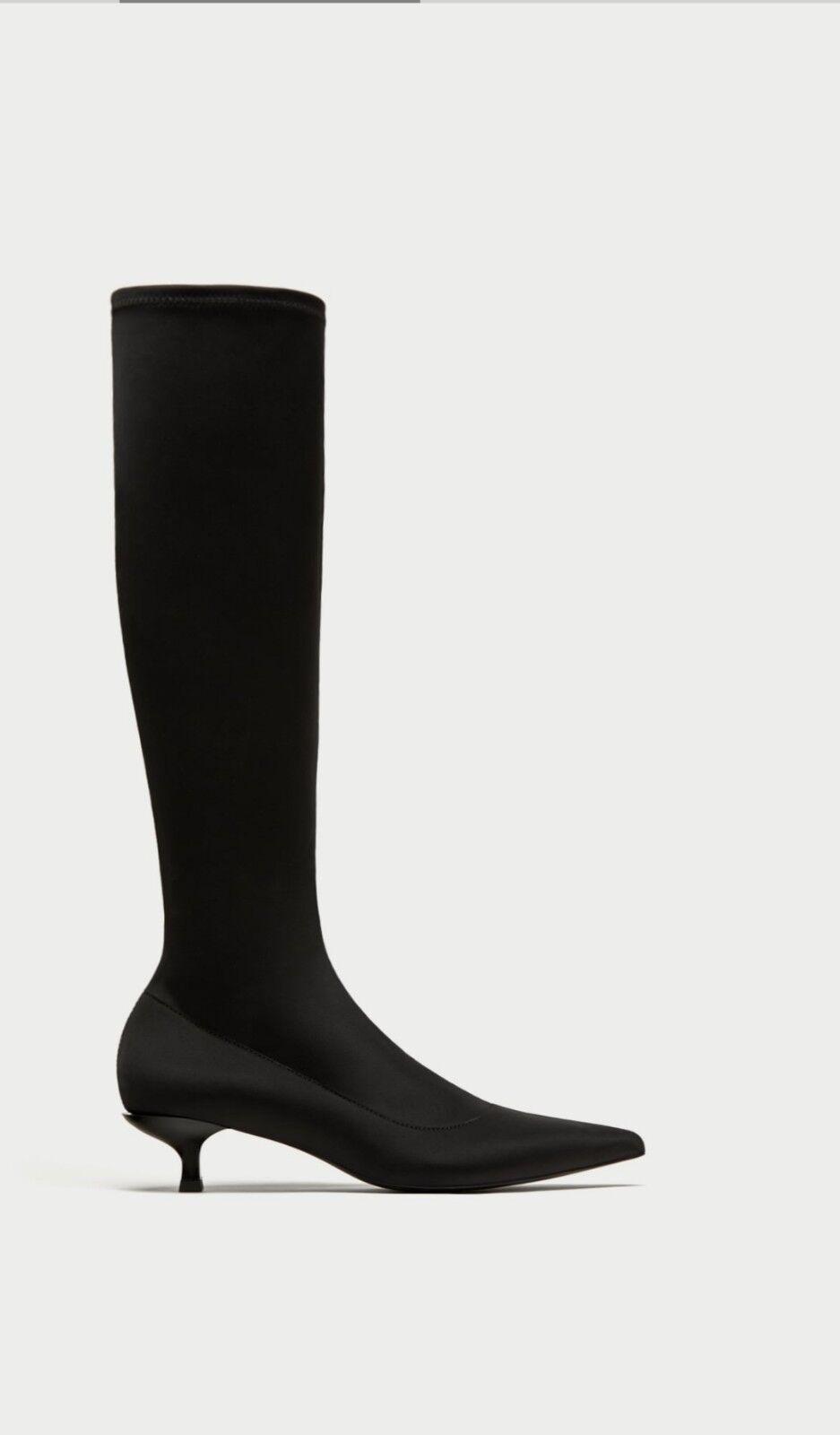 ZARA BLACK  ELASTIC HEEL BOOTS SIZE UK-5  EU-38