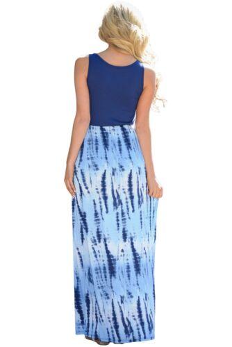 Blue Tie Dye Print Sleeveless Maxi Dress