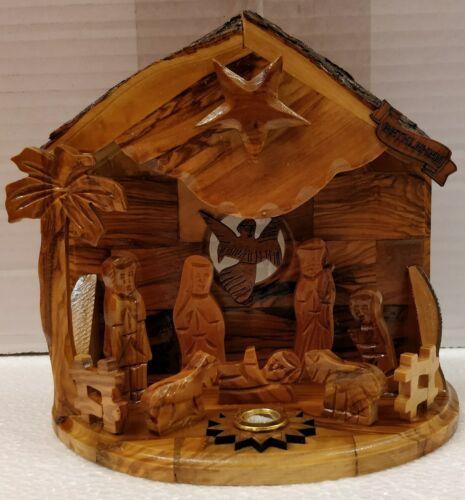 Noël Musical en bois d/'olivier fait à la main Nativité Set de Bethléem la Terre Sainte