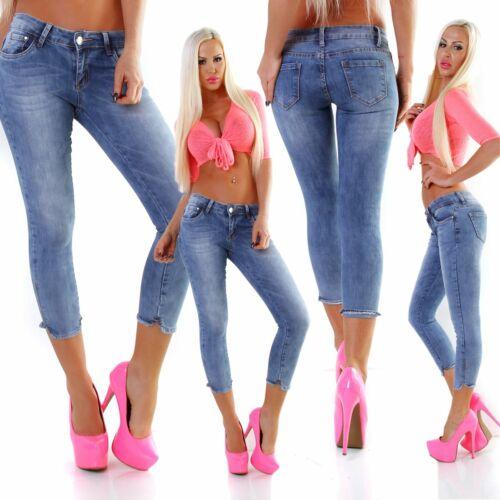 5444 Knackige Damen Jeans Röhre Skinny Stretch Denim Slimfit Wadenlang