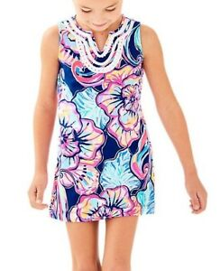 a8af98a14b0465 New Lilly Pulitzer GIRLS MINI HARPER SHIFT Dress Nauti Navy Boho ...