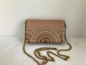 e713e830ce Details about Coach Callie Foldover Chain Clutch Crossbody With Deco  Quilting And Rivets 68844