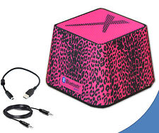 Portable Mini Wireless Bluetooth Speaker in Stylish Hot Pink Leopard for Laptops