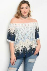 NEW-Lovely-Plus-Size-Navy-amp-Ivory-Floral-Print-Off-the-Shoulder-Top-Sz18-2XL