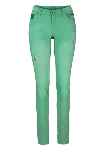 NUOVO!! AJC ARIZONA JEANS a Sigaretta Pantaloni Kp 67,99 € SALE/%/%/% Verde con Paillettes