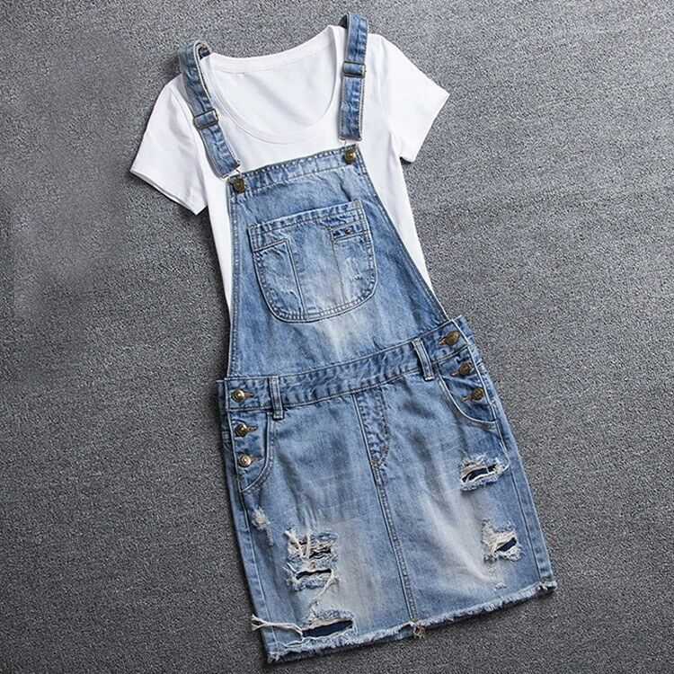 Oversize Women's Denim Rompers Short Skirts Dress Jumpsuits Ripped Jeans Shorts