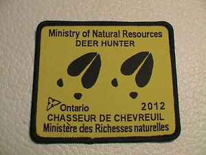 2012 Ontario Canada Ministry Ressources Naturelles Succès Deer Hunter Gun Patch-afficher Le Titre D'origine