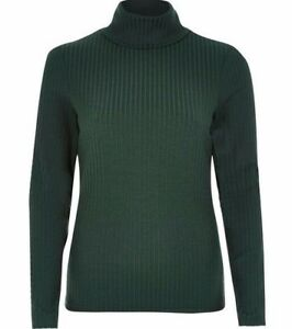 bca3fbc6946 Details about Ex River Island Women's Dark Green Ribbed Roll Neck Jumper  Sizes 6 - 18 (G3)