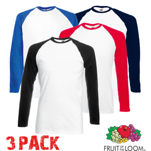 3-X-Fruit-of-the-Loom-Uomo-Baseball-T-shirt-a-Contrasto-Manica-Lunga-Sport-Pack