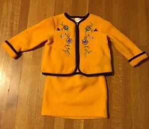 Hanna Andersson Soft Fleece Jacket and Skirt Set Girls' Size 100 US 4 Yellow USA