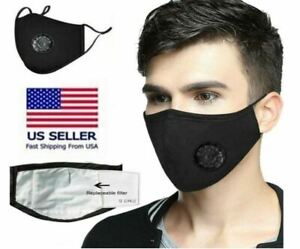 Cotton Face Mask Breathing Valve Washable Reusable 2 Filters Activated Carbon Ebay