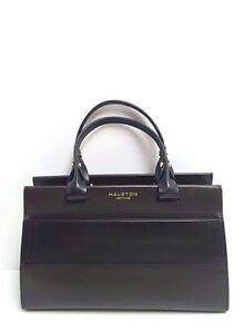 c4205d4fc8f Image is loading Halston-Heritage-Satchel-Brooke-Large-Smooth-Leather -Handbag-