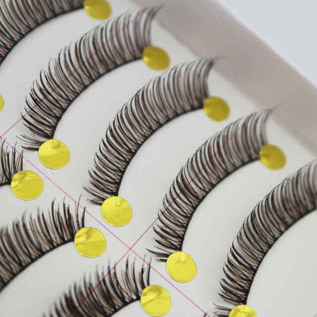 10 Pairs Black and Brown False Eyelashes Long Thick Cross Eye Lashes Extension