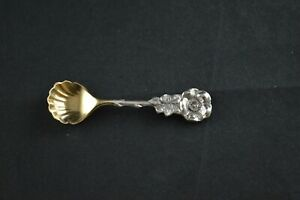 Reed-amp-Barton-Harlequin-034-Wild-Rose-034-Sterling-Silver-Salt-Spoon-GW