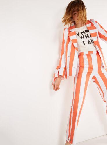 Stile Nuovo '60 Frill Bianco Arancione anni Sz Laura Giacca Cotone Gillings 10 Stripe qwCHRExp